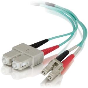 C2g 0.5m Lc-Sc 50/125 Om4 Duplex Multimode Pvc Fiber Optic Cable - Aqua 01143