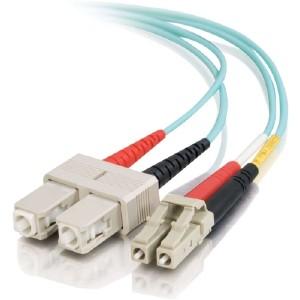 C2g 0.5m Lc-Sc 10gb 50/125 Om3 Duplex Multimode Pvc Fiber Optic Cable - Aqua 01123