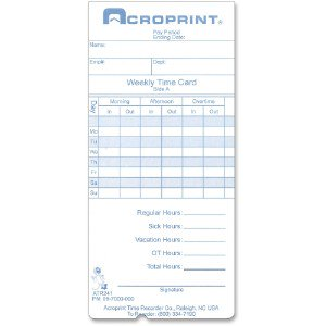 Acro Print Time Recorder Time Clock Replacement Time Cards 097000000