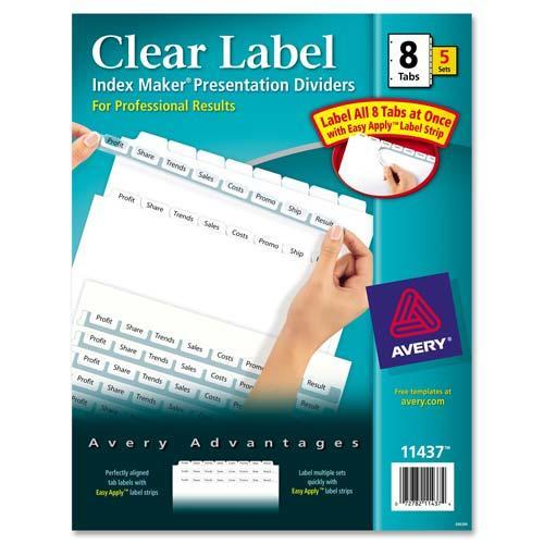 11437 Avery Dennison Index Maker Clear Label Divider With 8