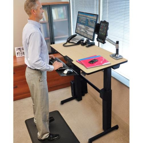 ergotron workfit d sit stand desk birch surface rectangle top rh compsource com  ergotron workfit-d sit-stand desk (walnut)