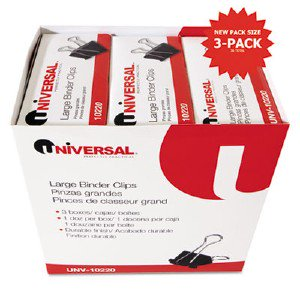 Universal Office Products Large Binder Clips, Steel Wire, 1' Capacity, 2' Wide, Black/Silver, 36 Each UNV10220VP pg.667.