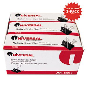 Universal Office Products Medium Binder Clips, Steel Wire, 5/8' Cap., 1-1/4' Wide, Black/Silver, 36/Pack UNV10210VP pg.667.