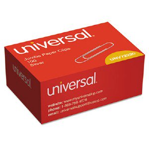Universal Office Products Smooth Paper Clips, Wire, Jumbo, Silver, 1000/Box 72220BX UNV72220BX SPR85009 DPS03514 429175