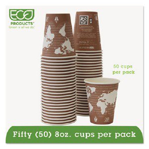 Eco-Products,inc. World Art Renewable Resource Compostable Hot Drink Cups, 8oz, Plum, 50/Pack EPBHC8WAPK ECOEPBHC8WAPK