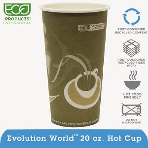 Eco-Products,inc. Evolution World 24% Pcf Hot Drink Cups, 20oz, Gray, 50/Pack EPBRHC20EWPK ECOEPBRHC20EWPK pg.474.
