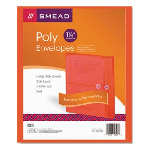 Smead Manufacturing Company 89527 Red Poly Envelopes With