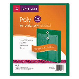 Smead Manufacturing Company 89543 Green Poly Envelopes Wit