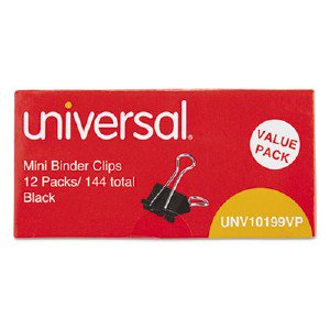 Universal Office Products Mini Binder Clips, Steel Wire, 1/4' Capacity, 1/2' Wide, Black/Silver, 144/Pack UNV10199 UNV10199VP