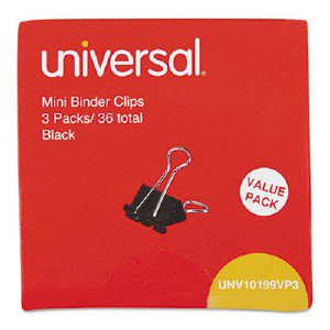 Universal Office Products Mini Binder Clips, 1/4' Capacity, 5/8' Wide, Black, 36/Box UNVAA015AB12 UNV10199VP3 pg.704.