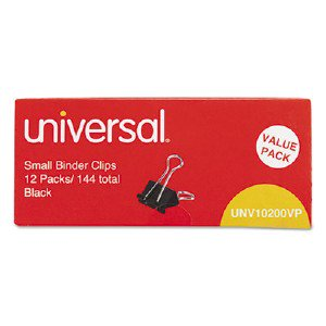 Universal Office Products Small Binder Clips, Steel Wire, 3/8' Capacity, 3/4' Wide, Black/Silver, 144/Pack UNV10200 UNV10200VP