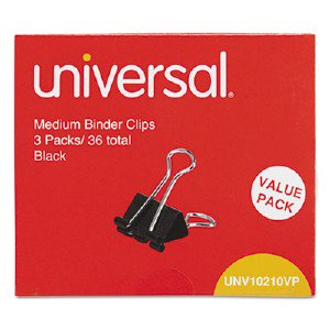 Universal Office Products Medium Binder Clips, Steel Wire, 5/8' Cap., 1-1/4' Wide, Black/Silver, 36/Pack UNV10210 UNV10210VP p