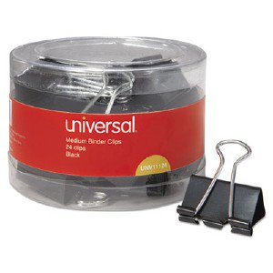 Universal Office Products Medium Binder Clips, 5/8' Capacity, 1 1/4' Wide, Black, 24/Pack 01003201 UNV11124