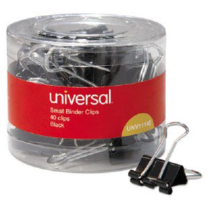 Universal Office Products Small Binder Clips, 3/8' Capacity, 3/4' Wide, Black, 40/Pack 01005201 UNV11140