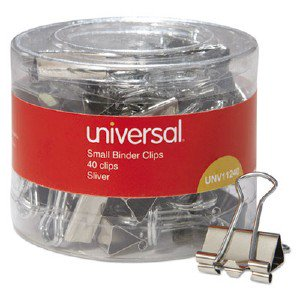 Universal Office Products Small Binder Clips, 3/8' Capacity, 3/4' Wide, Silver, 40/Pack 01005210 UNV11240