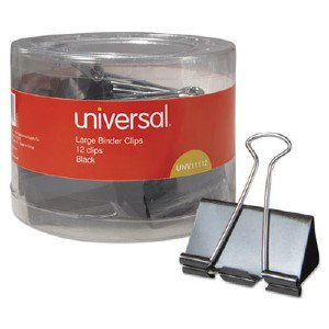 Universal Office Products Large Binder Clips, 1' Capacity, 2' Wide, Black, 12/Pack 01001201 UNV11112