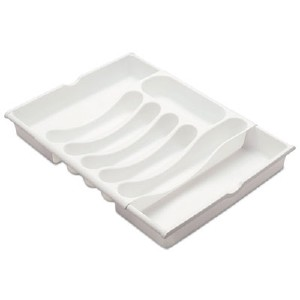 Office Settings Expandable Cutlery Tray, White 15'D x 12.5' to 21'W 8CCTWH