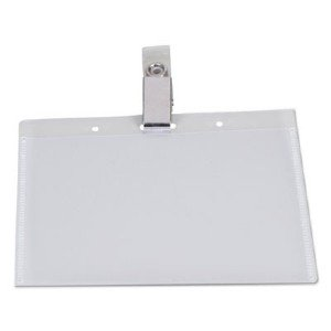 Universal Office Products Deluxe Clear Badge Holders W/Garment-Safe Clips, 2.25 X 3.5, White Insert, 50/Bx 56006 UNV56006