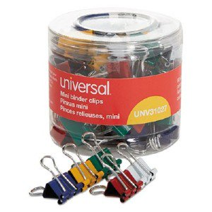 Universal Office Products Mini Binder Clips, 1/4' Capacity, 1/2' Wide, Assorted Colors, 60/Pack 31027 UNV31027