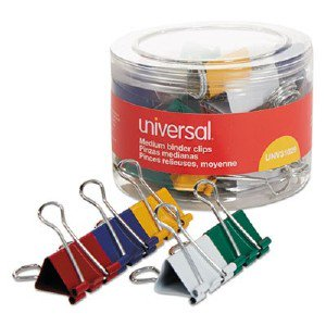 Universal Office Products Medium Binder Clips, 5/8' Capacity, 1 1/4' Wide, Assorted Colors, 24/Pack 31029 UNV31029