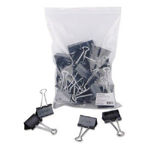Universal Office Products Large Binder Clips, Zip-Seal Bag, 1' Capacity, 2' Wide, Black, 36/Bag UNV10220 UNV10220VP pg.704.