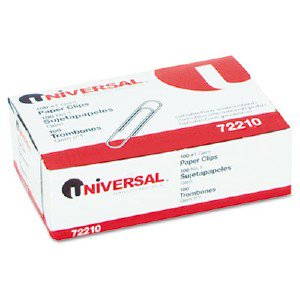 Universal Office Products Paper Clips, Smooth Finish, No. 1, Silver, 100/Box 72210BX UNV72210BX SPR85001 DPS03551 429266