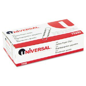 Universal Office Products Smooth Paper Clips, Wire, Jumbo, Silver, 100/Box UNV72220BX pg.7997. SPR85009 DPS03514 429175