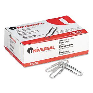 Universal Office Products Nonskid Paper Clips, Wire, No. 1, Silver, 100/Box 72230BX UNV72230BX DPS03524